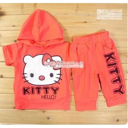 Hello kitty Short-Sleeved Hooded Sets