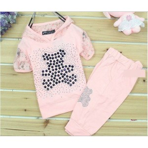 Bear Rhinestone Lace Short-Sleeved Sets