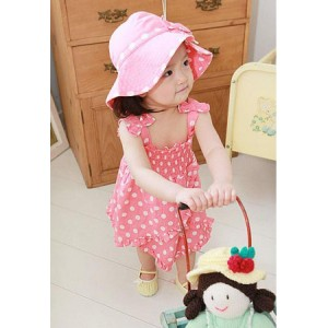 Sleeveless Polka Dot Dress Sets
