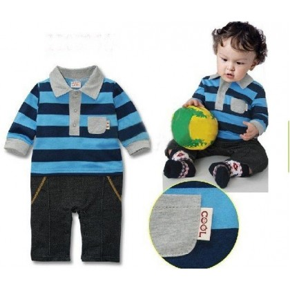 Blue Striped Rompers